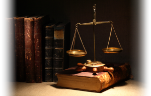 books and scales of justice